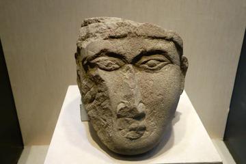 石雕人头像,西夏,西夏陵区1号陵采集,宁夏银川西夏博物馆文物。